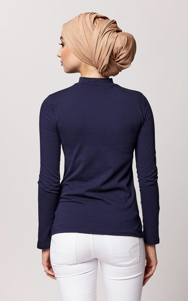 High Neck Long Sleeve Top in Navy