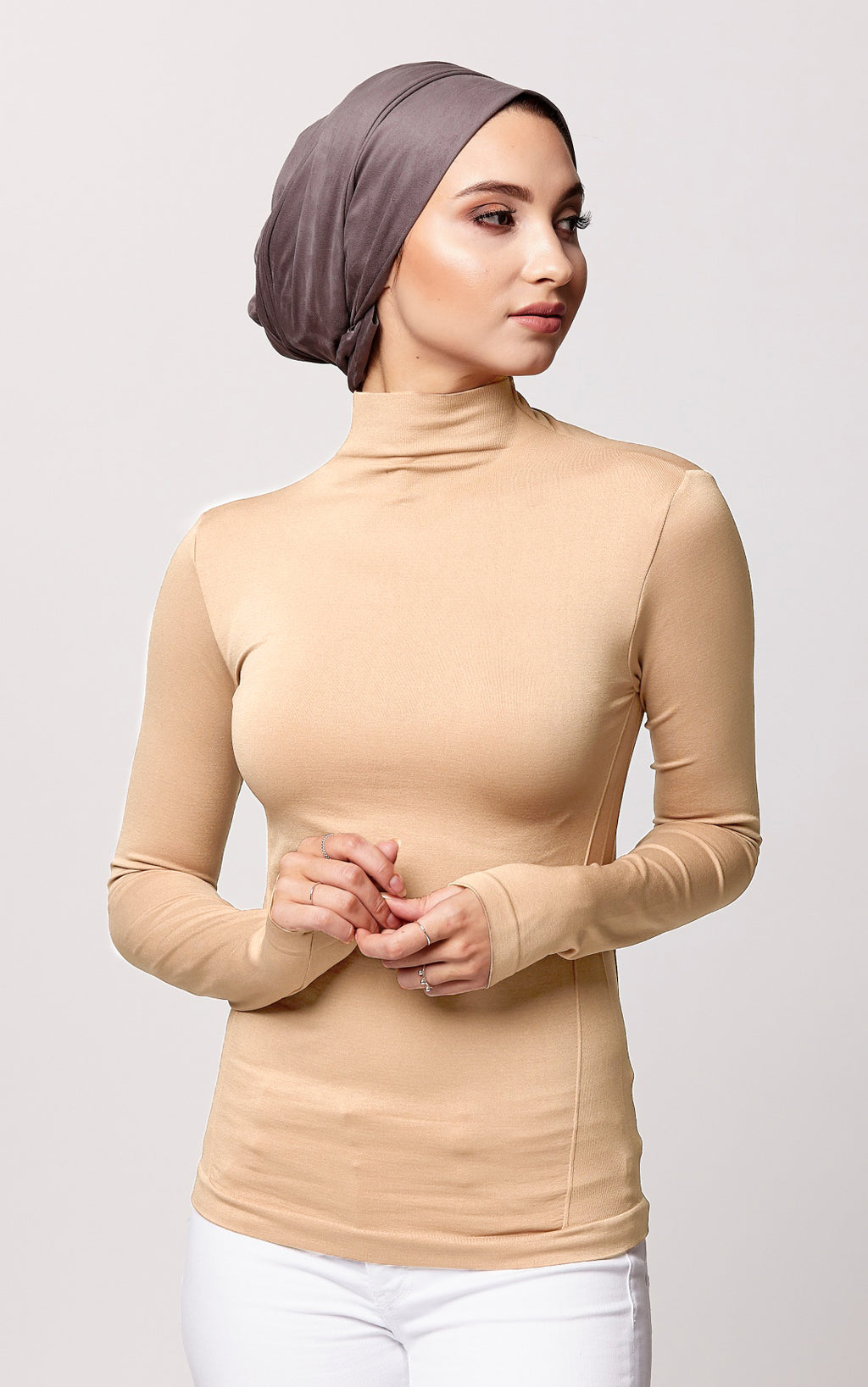 Control Fit High Neck Top in Tan