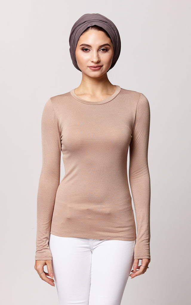 Luxe Modal Crew Neck Top in Nude