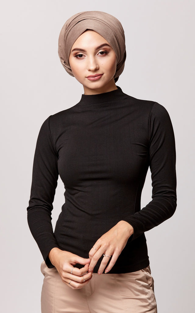 Control Fit High Neck Top in Black