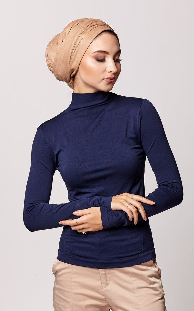 Control Fit High Neck Top in Navy