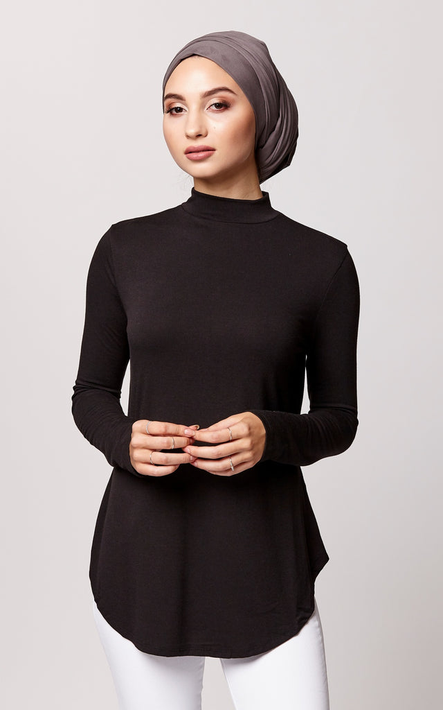 Relaxed Fit High Neck Top in Black