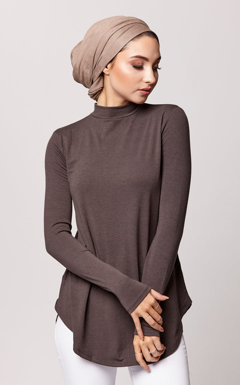 Relaxed Fit High Neck Top in Gray