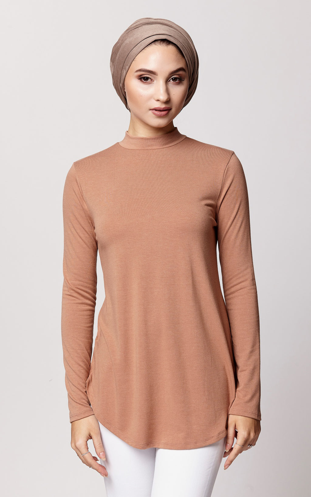 Relaxed Fit High Neck Top in Sepia
