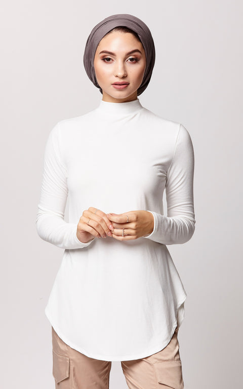 Relaxed Fit High Neck Top in Ivory