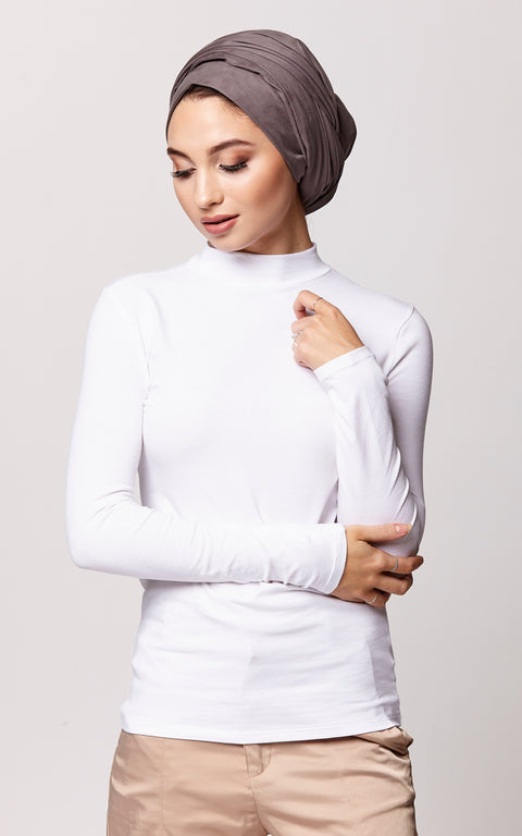 High Neck Long Sleeve Top in White