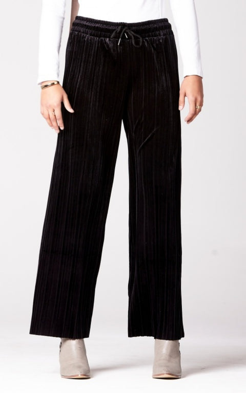 Velvet Pleated Wide Leg Pants in Black