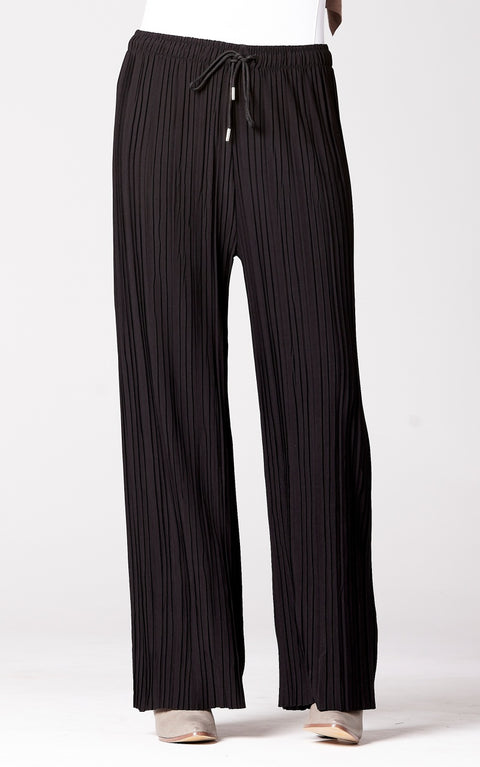 Pleated Wide Leg Pants in Black