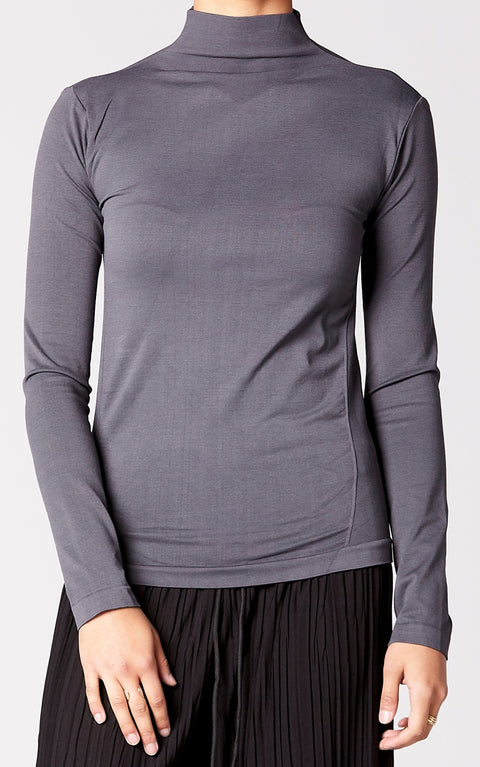 Control Fit High Neck Top in Gray
