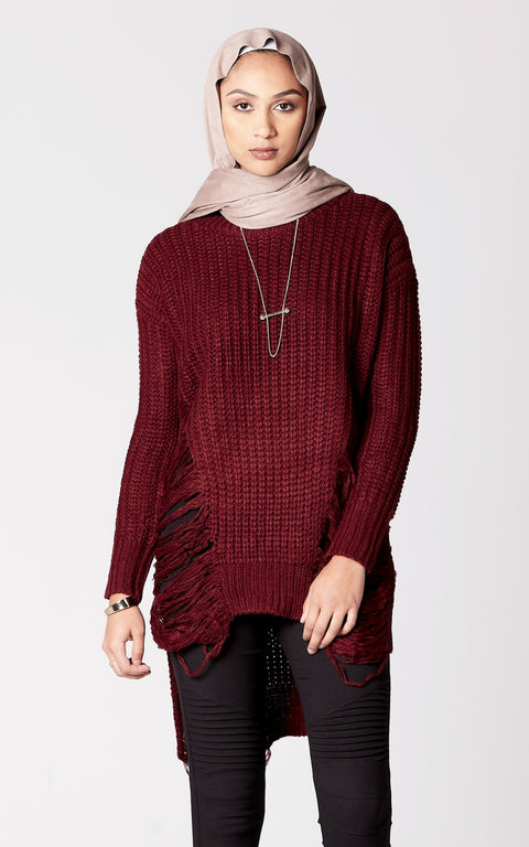 Distressed Longline Sweater in Burgundy