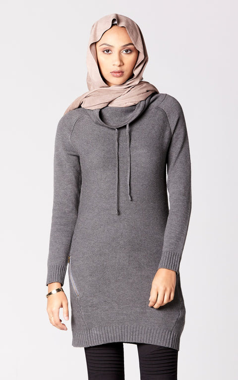 Longline Sweater Dress in Graphite