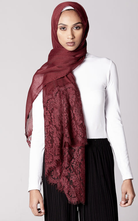 DEEP BURGUNDY  Premium Lace Edge