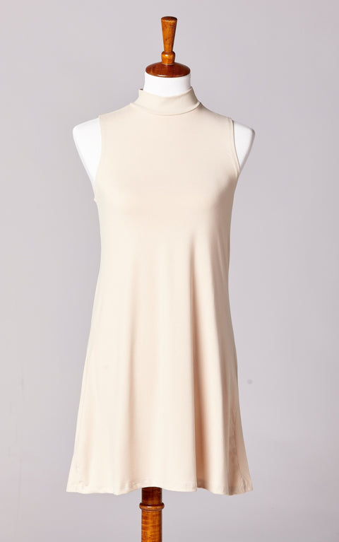 High Neck Ultra Soft Essential Dress in Nude