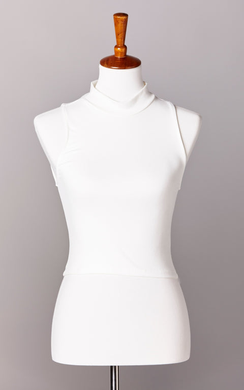 High Neck Ultra Soft Crop Top in Ivory