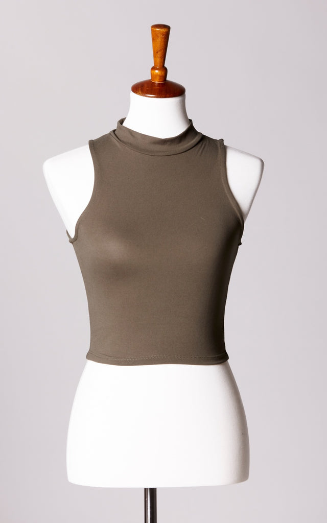 High Neck Ultra Soft Crop Top in Olive