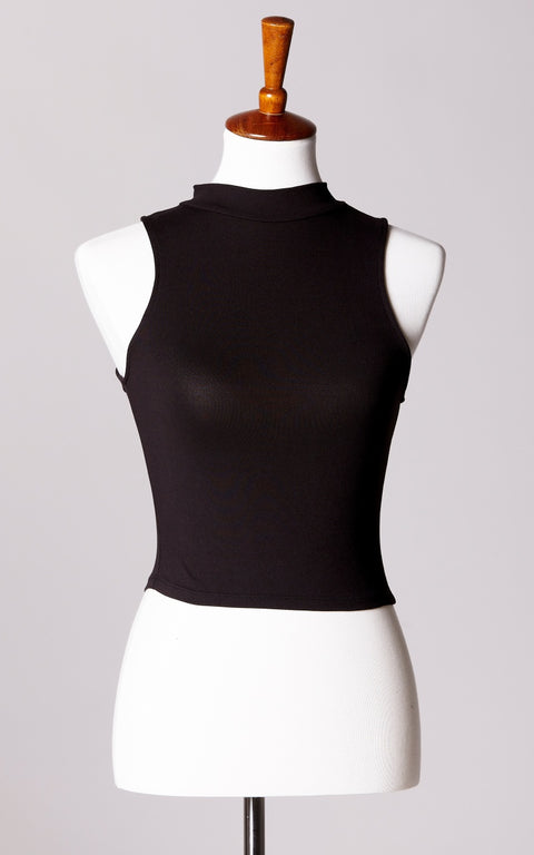 High Neck Ultra Soft Crop Top in Black