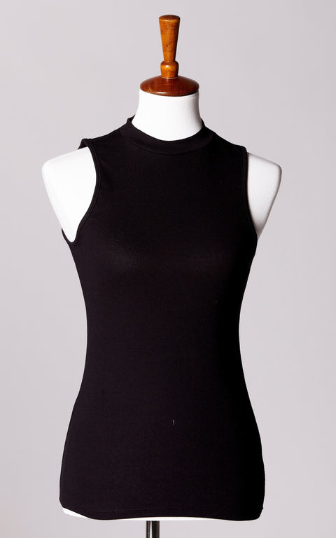 High Neck Ribbed Sleeveless Top in Black