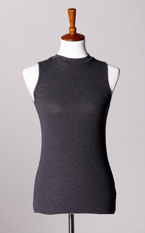 High Neck Ribbed Sleeveless Top in Charcoal