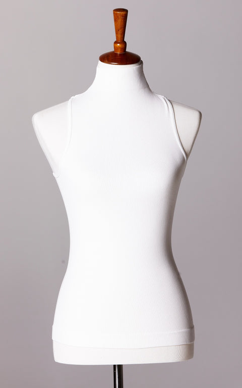 Control Fit High Neck Ribbed Sleeveless Top in White