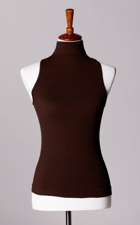 Control Fit High Neck Ribbed Sleeveless Top in Brown