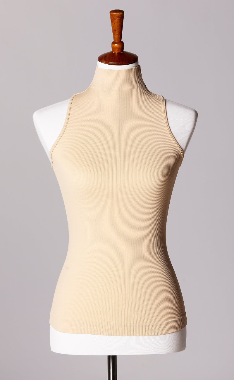 Control Fit High Neck Ribbed Sleeveless Top in Nude