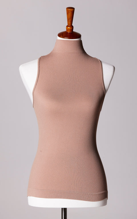 Control Fit High Neck Ribbed Sleeveless Top in Taupe