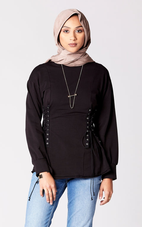 Corset Detail Puff Sleeve Top in Black
