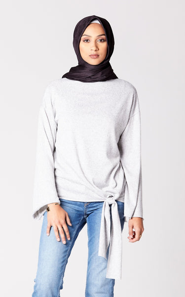 Brushed Knit Knot Top in Heather Gray