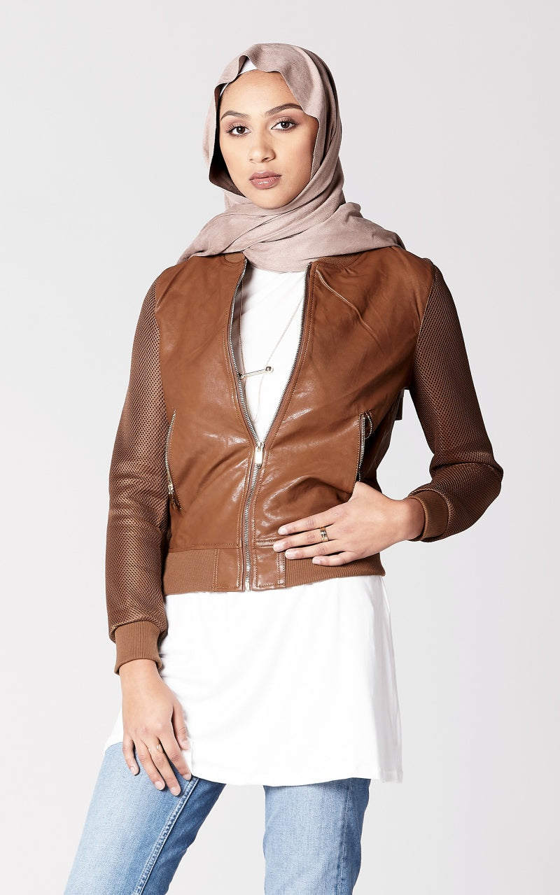Faux Leather Jacket with Mesh Sleeves in Camel