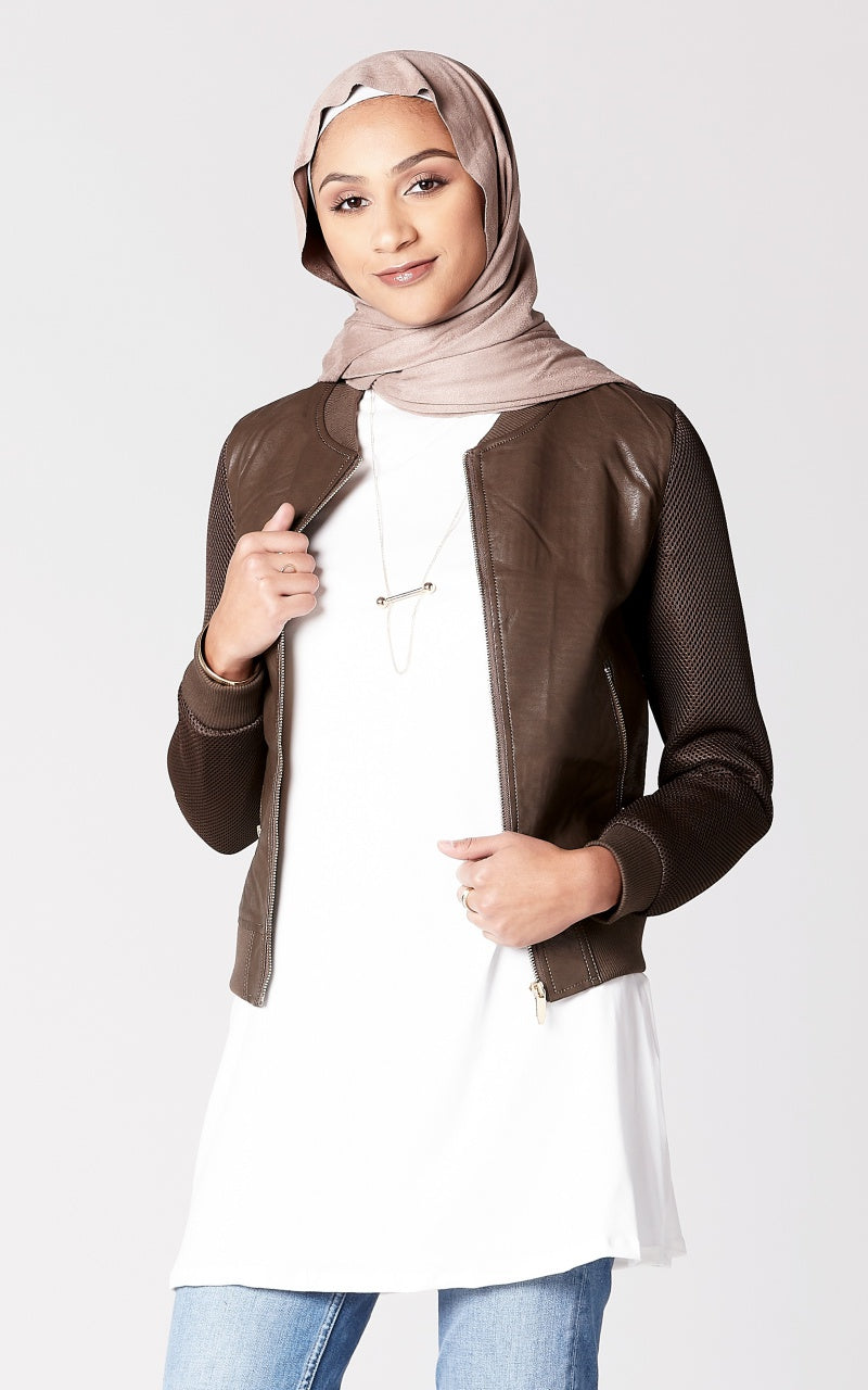 Faux Leather Jacket with Mesh Sleeves in Brown