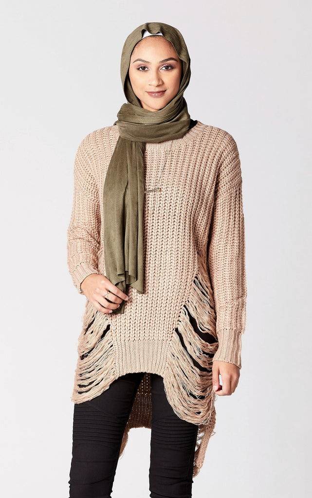 Distressed Longline Sweater in Taupe