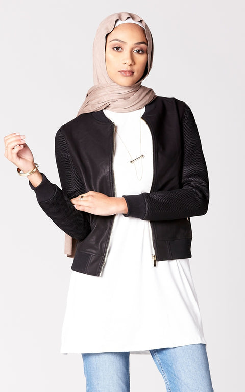 Faux Leather Jacket with Mesh Sleeves in Black