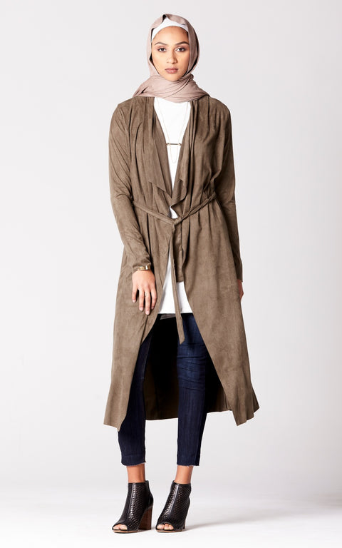 Suede Belted Duster in Olive