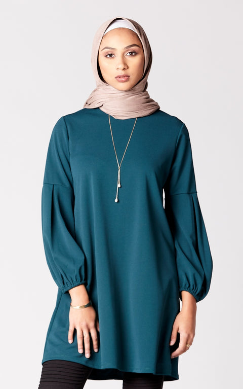 Pleated Puff Sleeve Shift Dress in Emerald
