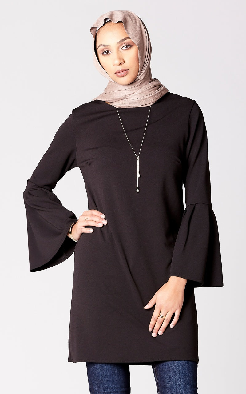 Bell Sleeve Shift Dress in Black