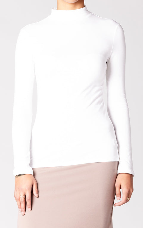 Essential High Neck Top in White