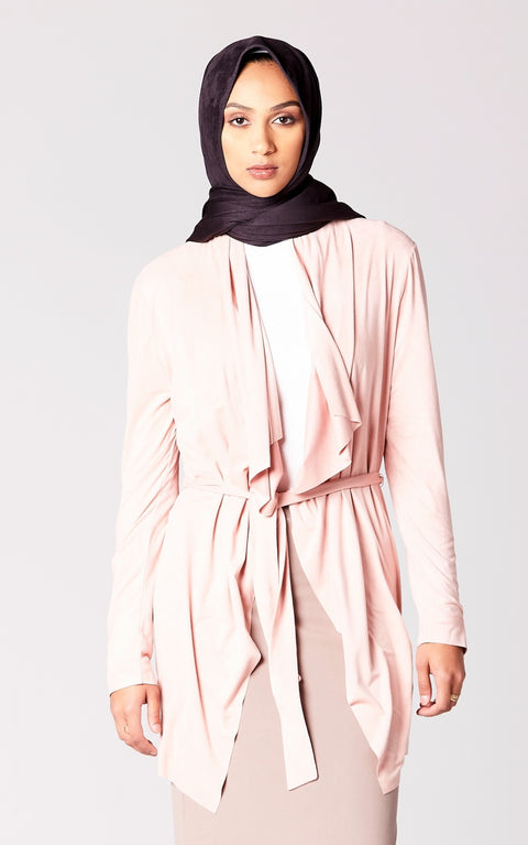 Suede Belted Cardigan in Dusty Rose
