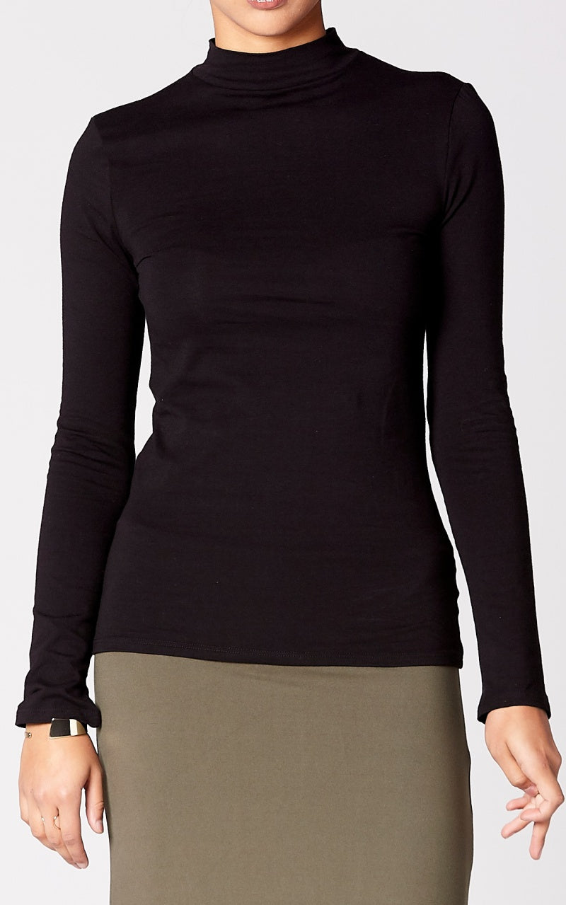 Essential High Neck Top in Black
