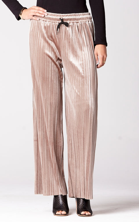 Velvet Pleated Wide Leg Pants in Taupe