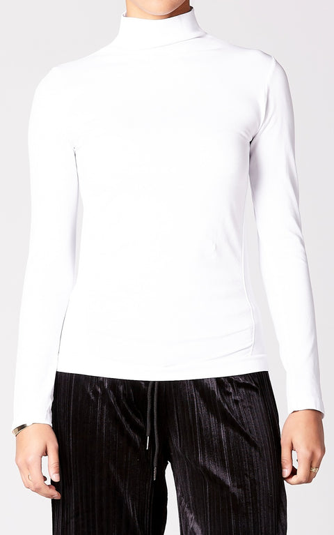 Control Fit High Neck Top in White