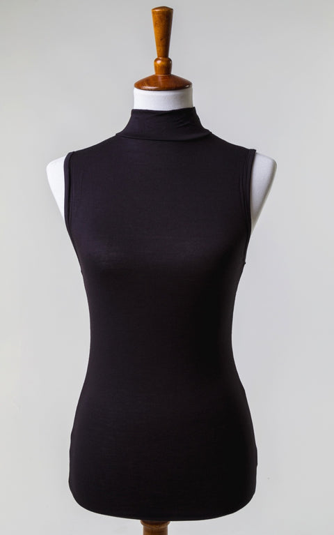 Essential High Neck Tank in Black