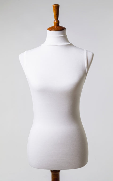 Essential High Neck Tank in Ivory
