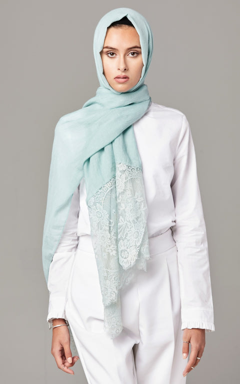 DUSTY MINT  Premium Lace Edge