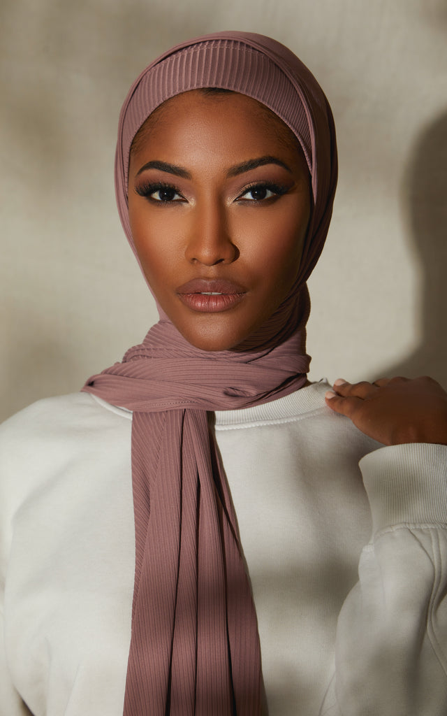 Ribbed Under Scarf Rose Smoke