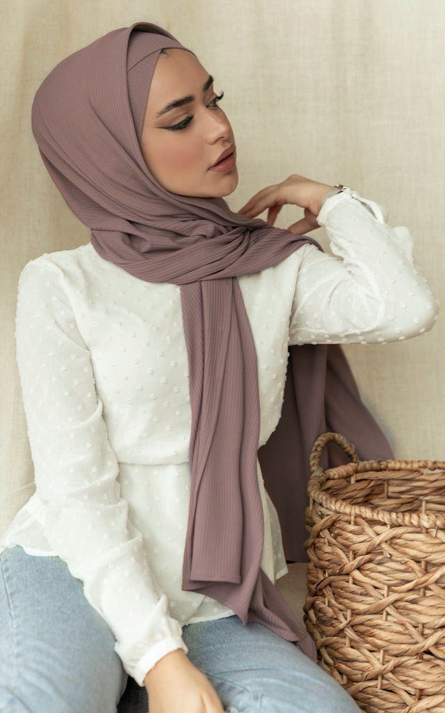 Ribbed Cross Front Under Scarf Rose Smoke
