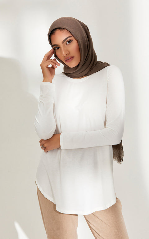 Crew Neck Relaxed Fit Top in Ivory