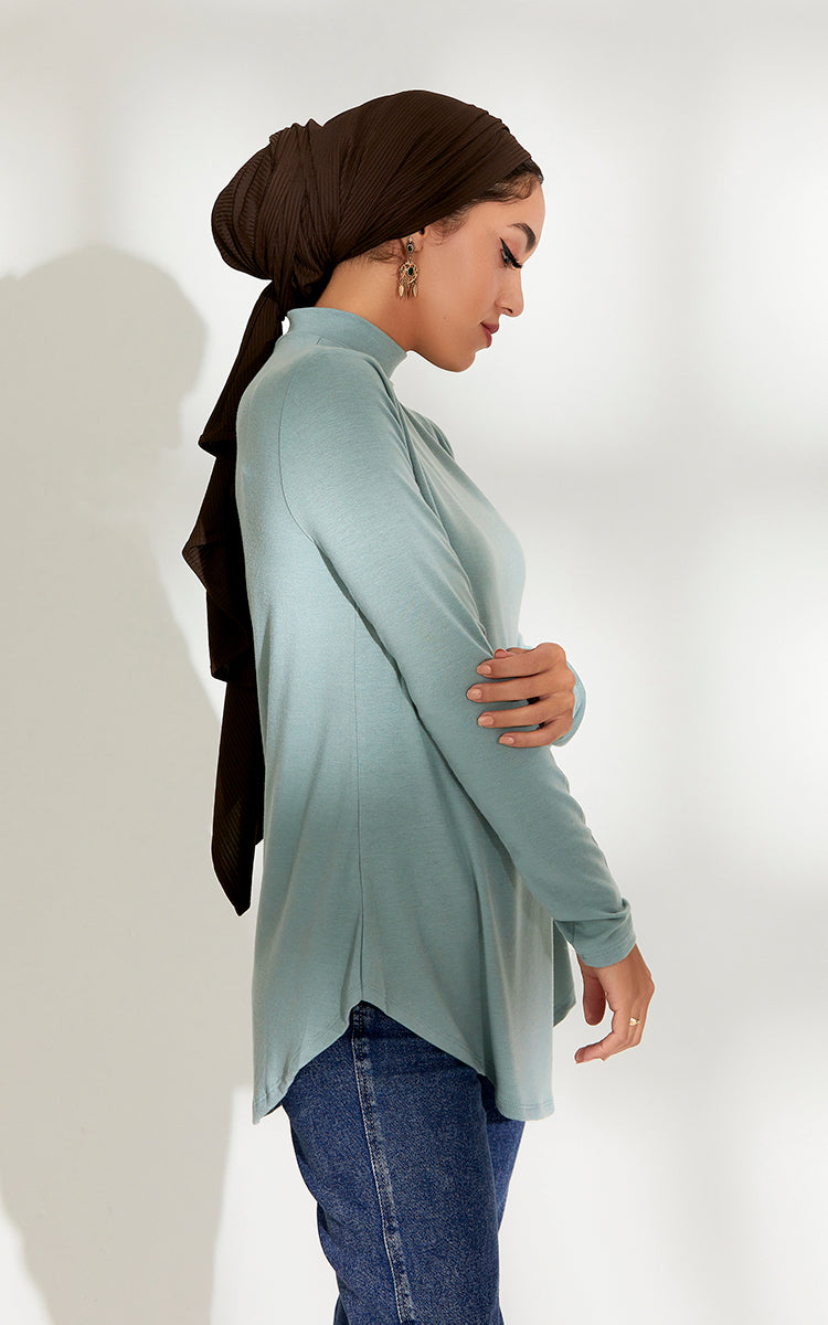 High Neck Relaxed Fit Top in Jade