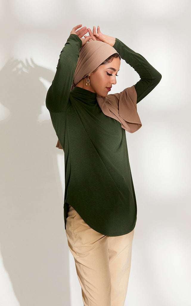 High Neck Relaxed Fit Top in Pine