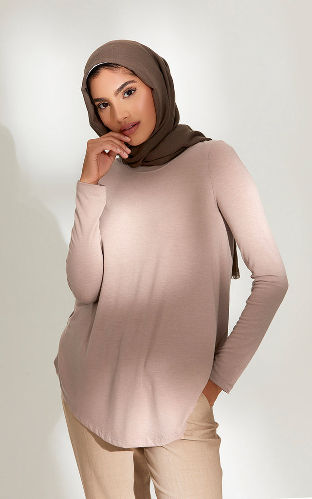 Crew Neck Relaxed Fit Top in Taupe