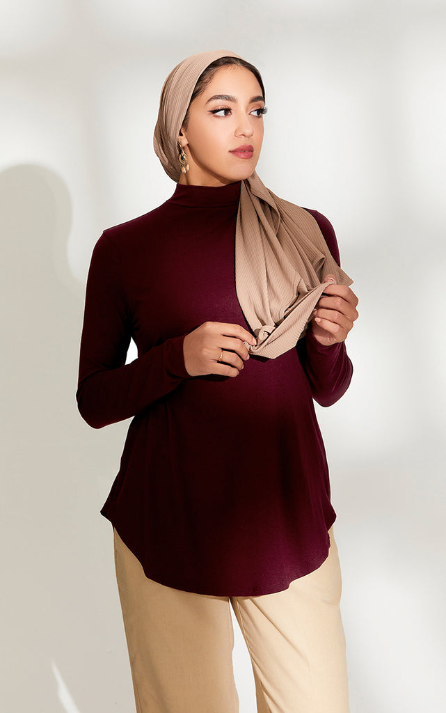 High Neck Relaxed Fit Top in Burgundy